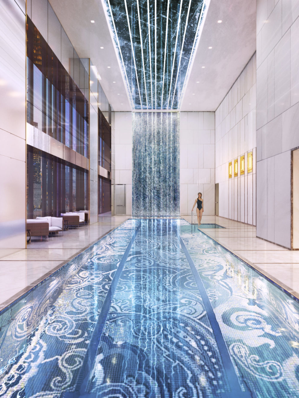 Interior view of Central Park Tower residence indoor pool with window view of NYC. Has white walls and high glowing ceiling.