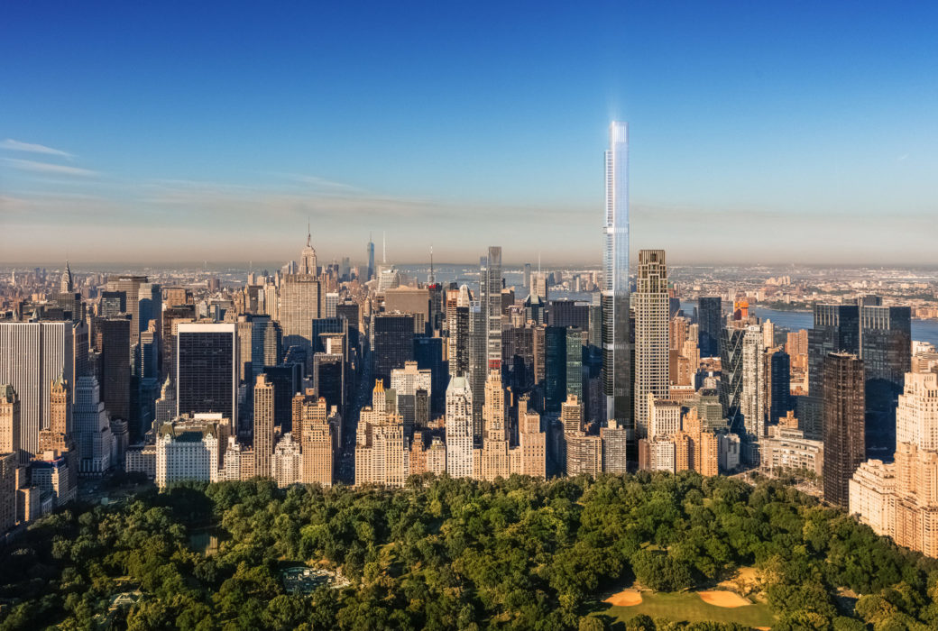 Exterior aerial view of New York City with Central Park Tower condominiums in the middle with central park in the front.