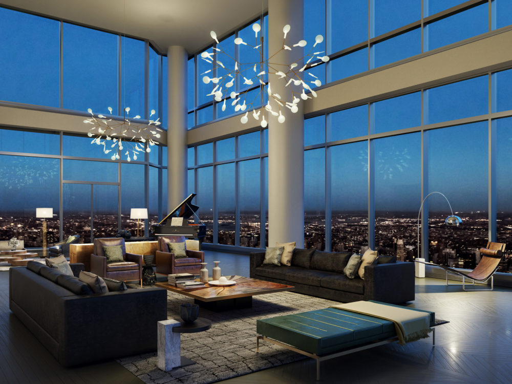 Interior view of Central Park Tower residence living room with skyline view of New York City. Has glowing chandelier.