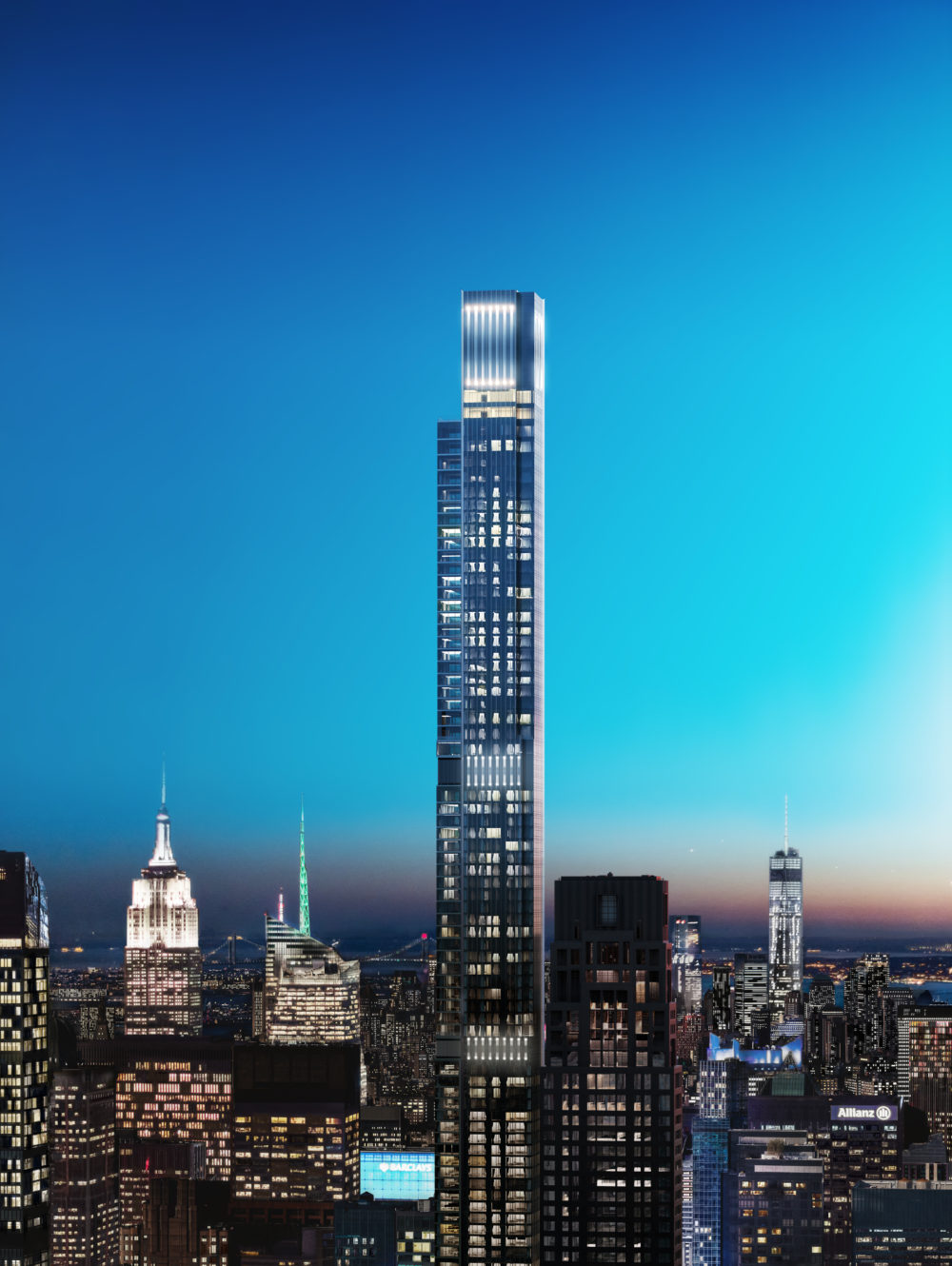 Exterior aerial view of Central Park Tower condominiums with a sunset view of New York City in the background.
