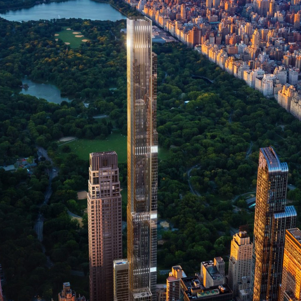 Exterior aerial view of Central Park Tower condominiums with surrounding New York City and Central Park.