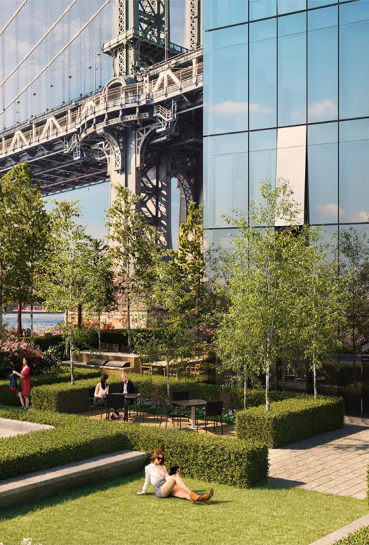 Garden at One Manhattan Square in New York. Separate lawn areas with hedge borders, stone walkways and wood treehouse.
