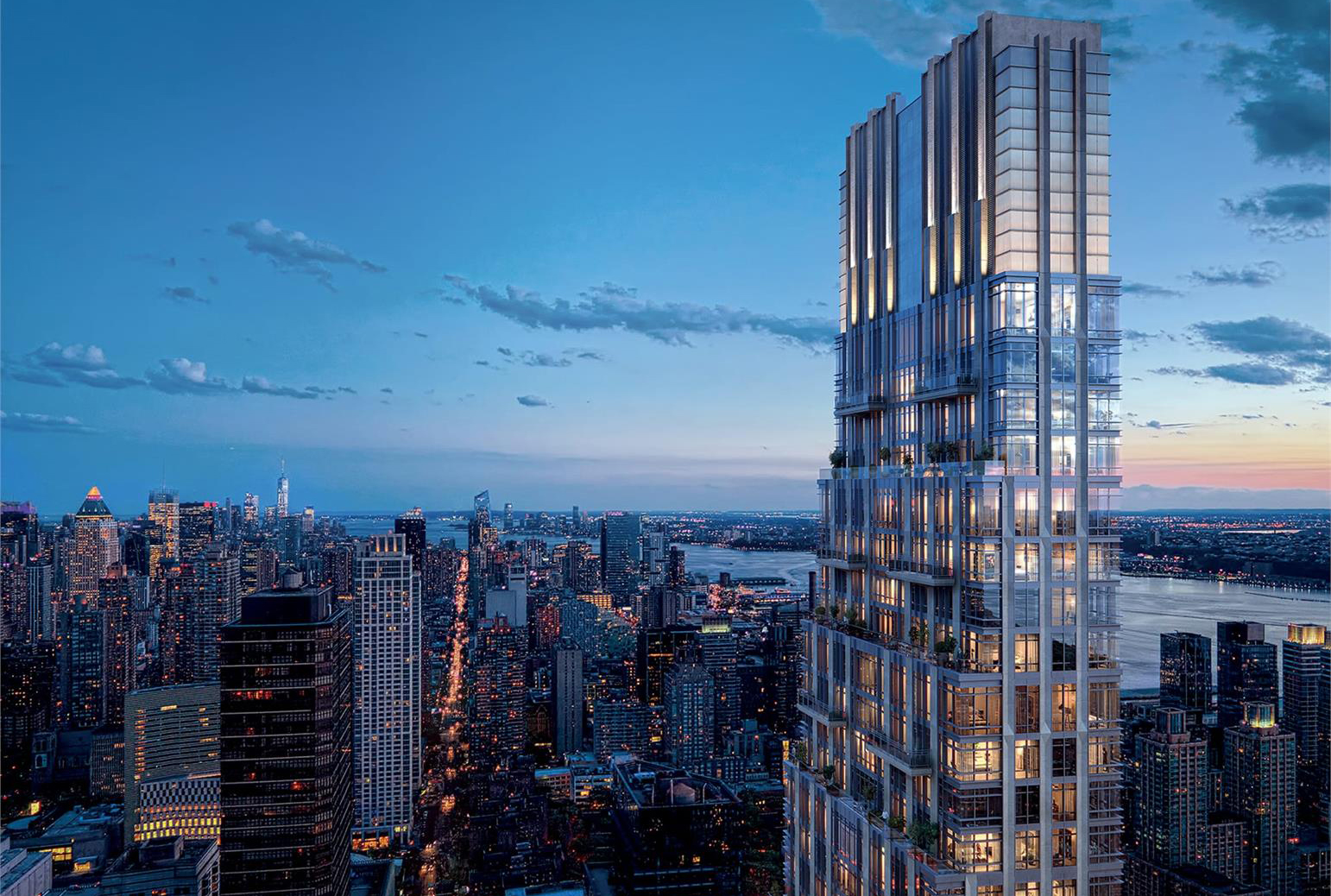 Exterior aerial view of 200 Amsterdam condominiums located in New York City. Includes detailed architecture of building.
