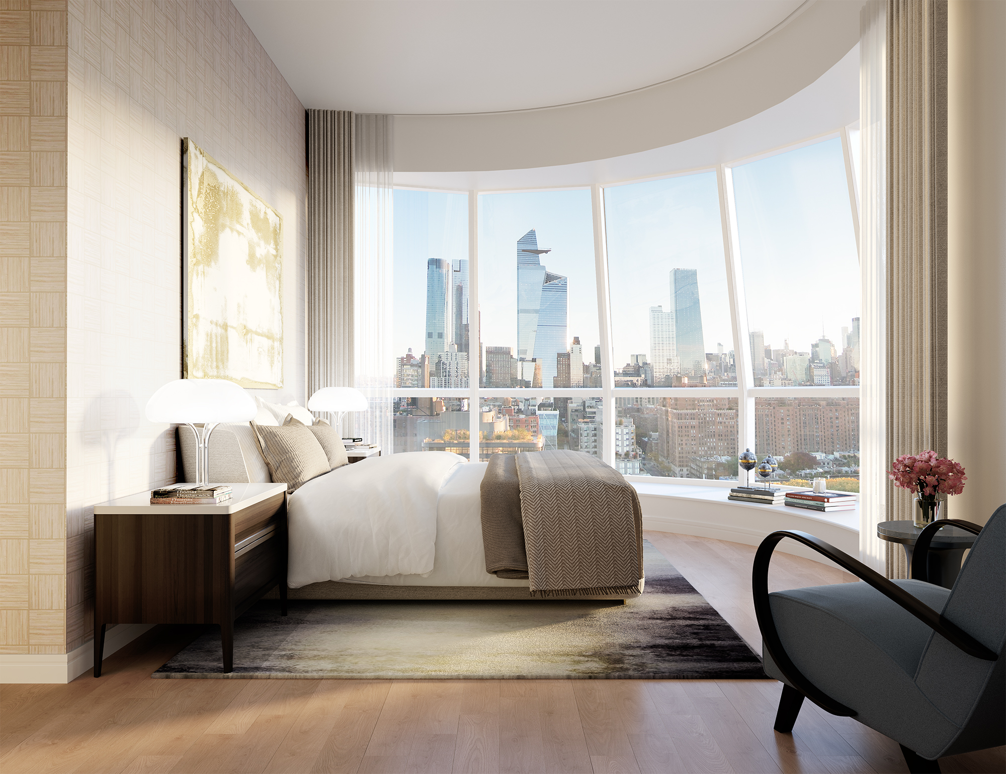 Interior view of Lantern House residence master bedroom with skyline view of NYC. Has wood floors and bed facing the window.