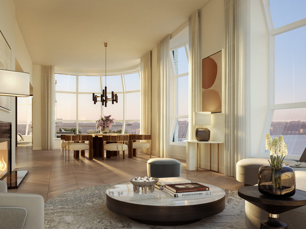 Interior view of Lantern House condominiums lounge with view of NYC. Has wooden floors, lounge furniture and shades.