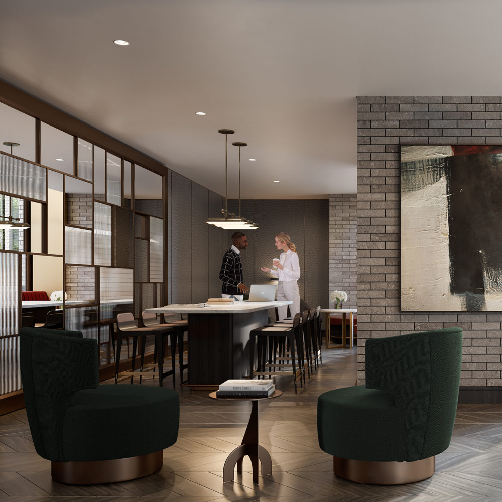Interior view of Lantern House residence meeting area in NYC. Has tables and chairs with open space for mingling.