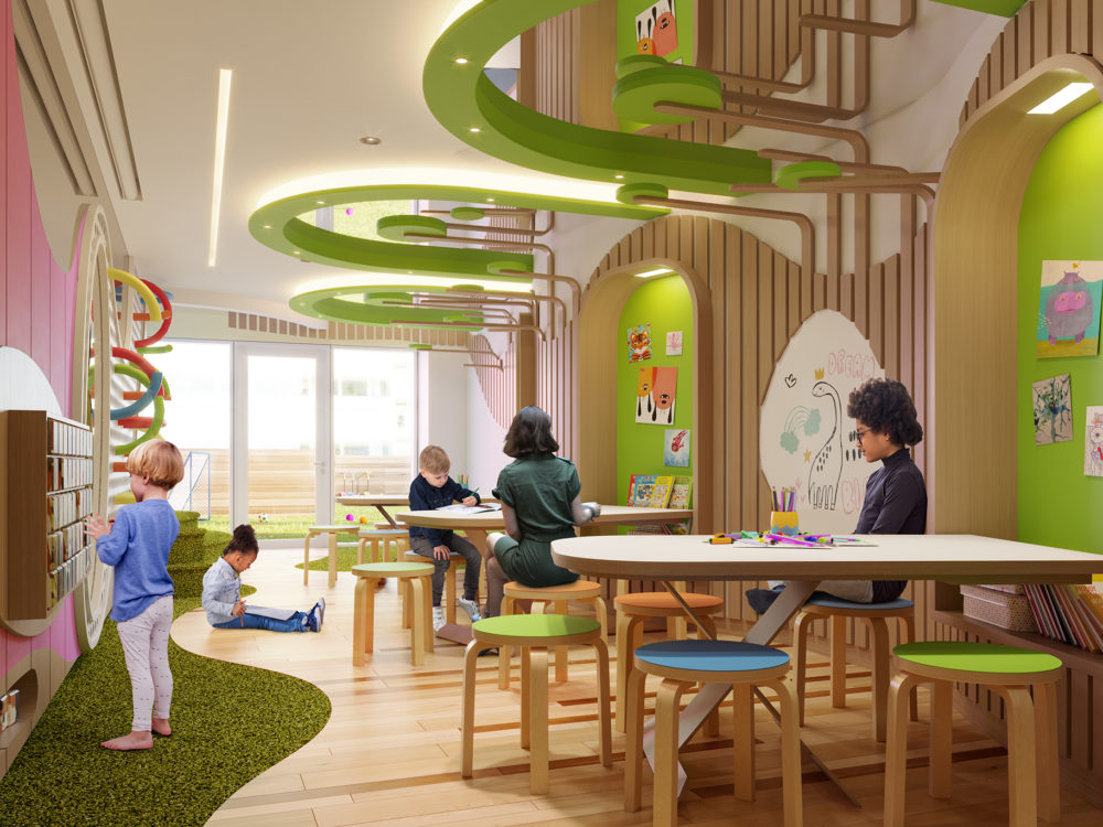 Interior view of Lantern House residence child's playroom in NYC. Has pink and green walls with activity boards on the walls.