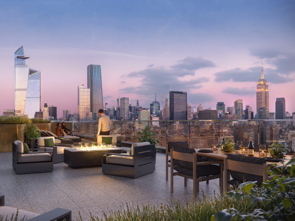 Exterior view of Lantern House residence rooftop dining. Overlooks New York and includes lounging furniture and fire pit.