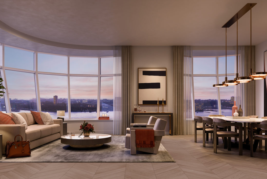 Interior view of Lantern House residence corner living room. Has window view of NYC and wood floors.