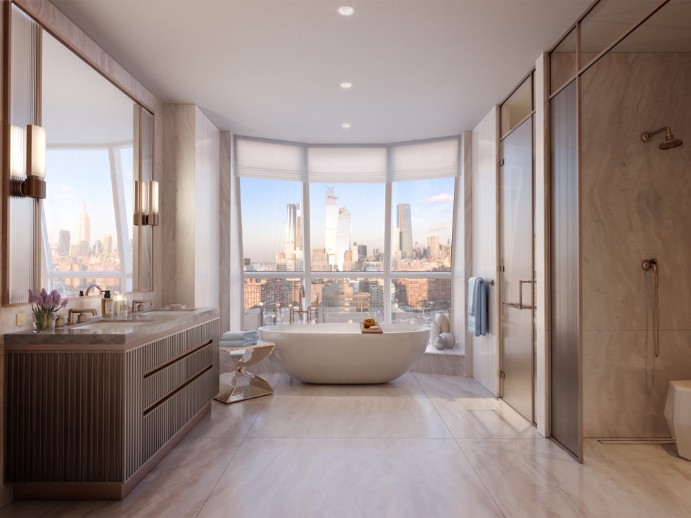 Interior view of Lantern House residence master bathroom with window view of NYC. Has marble flooring, bathtub and shower.