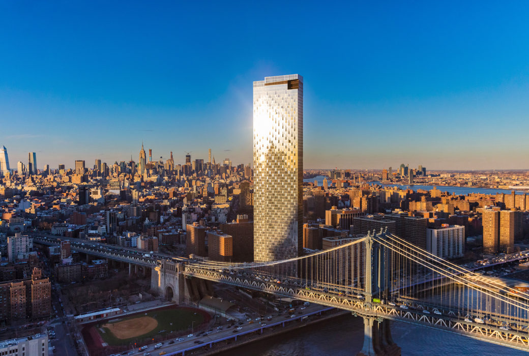 Aerial view of One Manhattan Square luxury condos in New York. Tower next to Manhattan Bridge and views of the city.