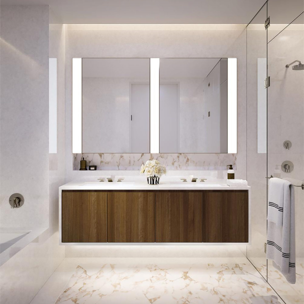 Bathroom design at The Hayworth condominiums in New York. Double vanity with marble countertop, marble shower and floors.