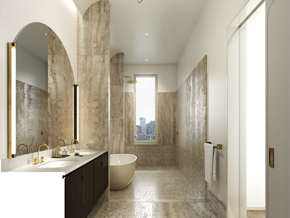 Interior view of master bath inside 180 E 88th street condominiums with window view of New York City. Has white walls.