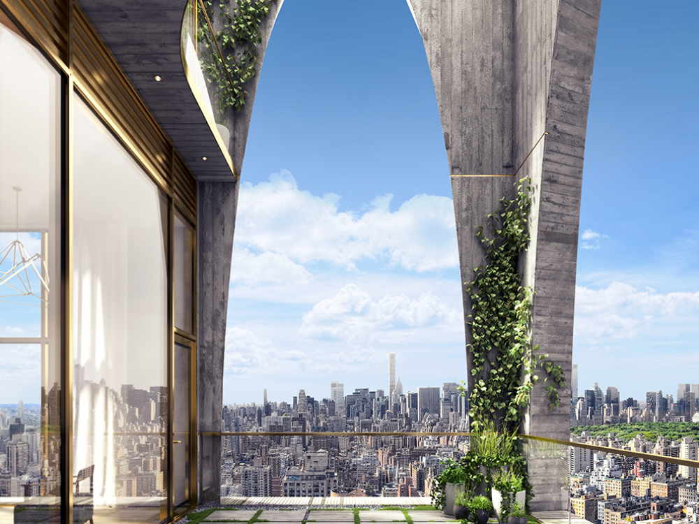 Exterior view of arched window balcony at 180 E 88th street condominiums with a view of New York City in the daytime.