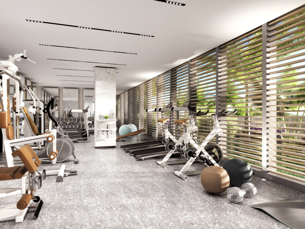 Interior view of fitness center inside 2000 Ocean condominiums in Miami. Includes cardio and conditioning equipment.