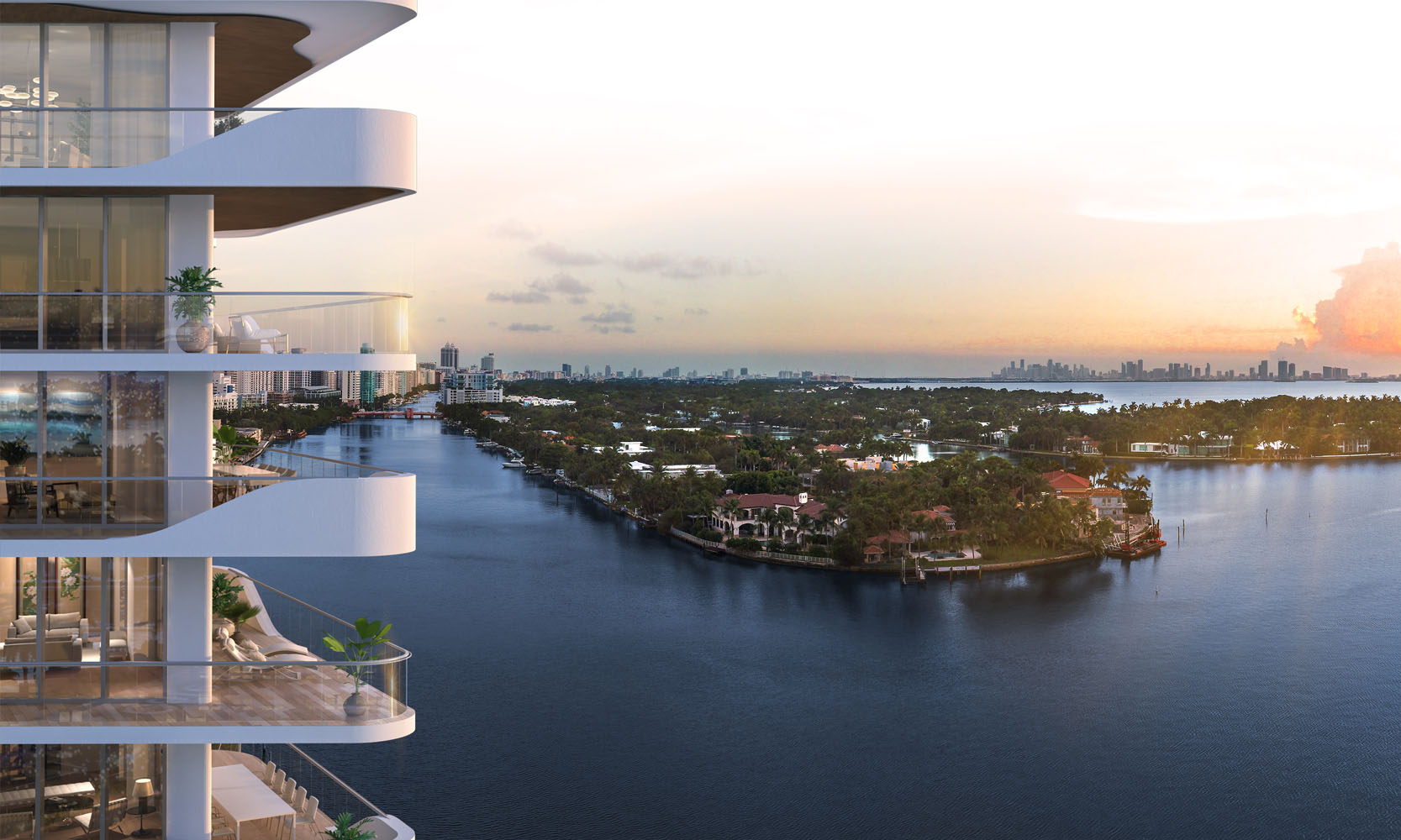Bird's eye view of Monaco Yacht Club residence balcony with waterfront view. Has view of Miami beach.