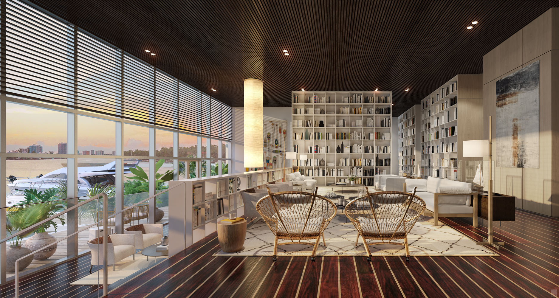 Interior view of Monaco Yacht Club residence library with window view of the ocean. Has dark wood floors and bookshelves.