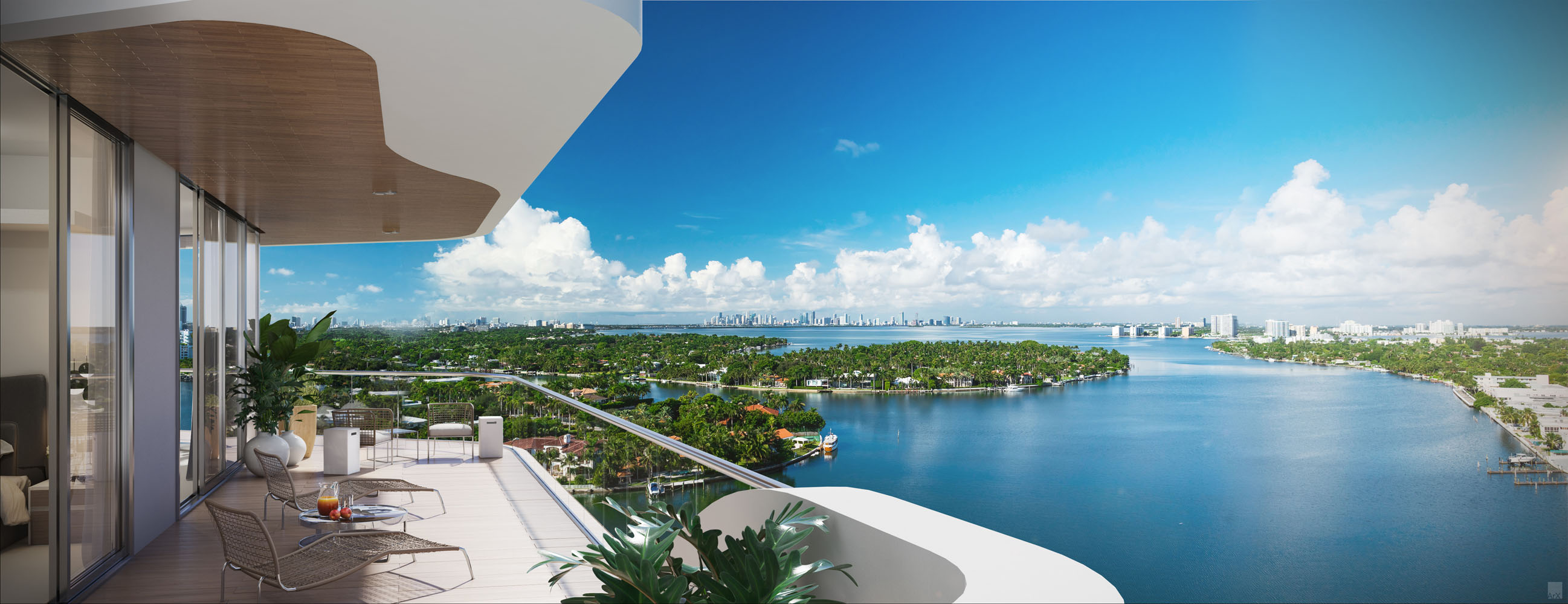 Balcony overlooking the bay during the day at Monaco Yacht Club luxury residences in Miami Beach.