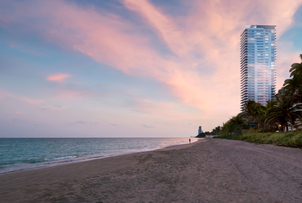 Exterior view of 2000 Ocean condominium with a view of the ocean during the day located in Hallandale Beach, Florida.