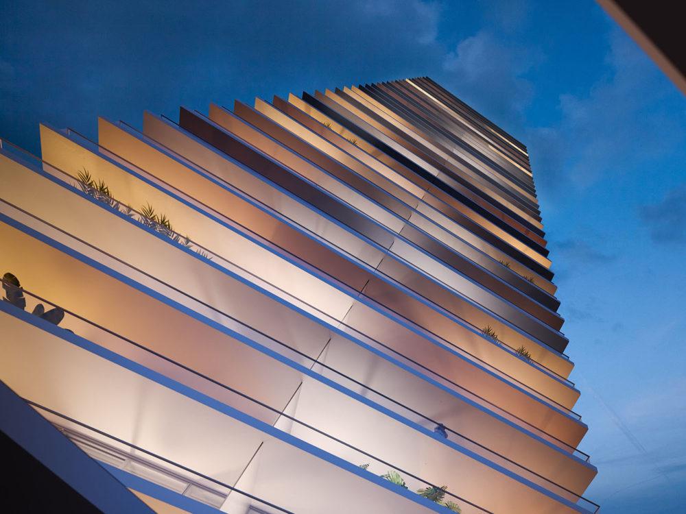 Exterior oculus view of 2000 Ocean condominiums located in Hallandale Beach, Florida. Has detailed architecture of building.