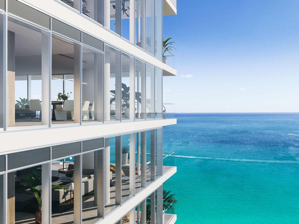 Exterior view of 2000 Ocean condominium balcony with view of beach located in Hallandale Beach, Florida.