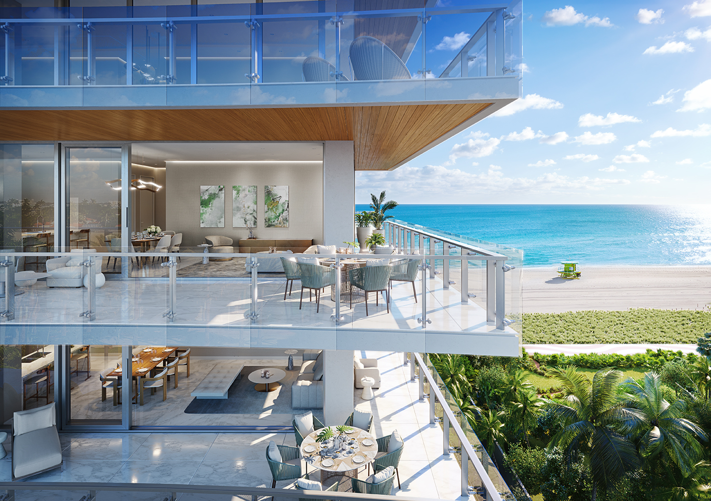Exterior view of 57 Ocean residence balcony in Miami. Has view of oceanfront, trees and two residence balconies.