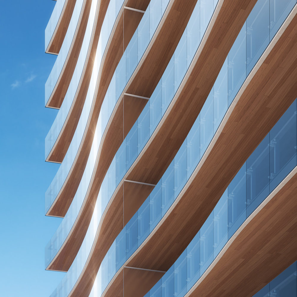 Exterior close up view of 57 Ocean condominiums building architecture in Miami. Has wood undelay and blue windows.