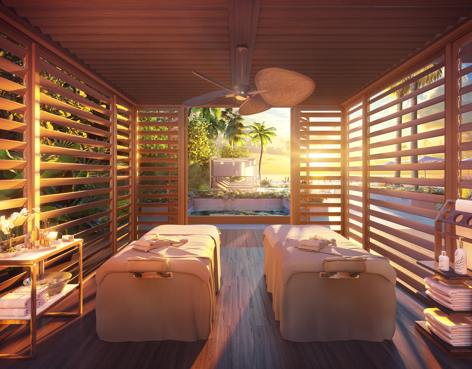Interior view of 57 Ocean residence outdoor spa area in Miami. Has two massage tables and open wooden walls.