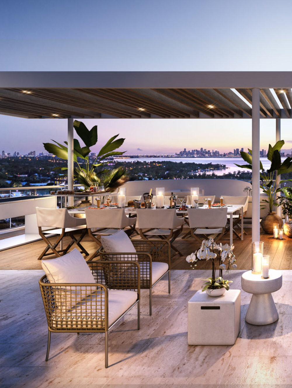 Miamicondosforsale_MonacoYachtClub_Exterior_Pool_OutdoorLounge_Amenities_Waterfront_Dusk