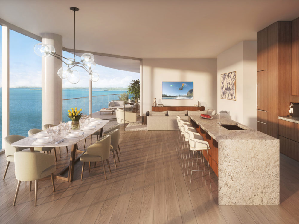 Open floor plan condominium at Una Residences in Miami. A great room consisting of kitchen, dining room, and living room.