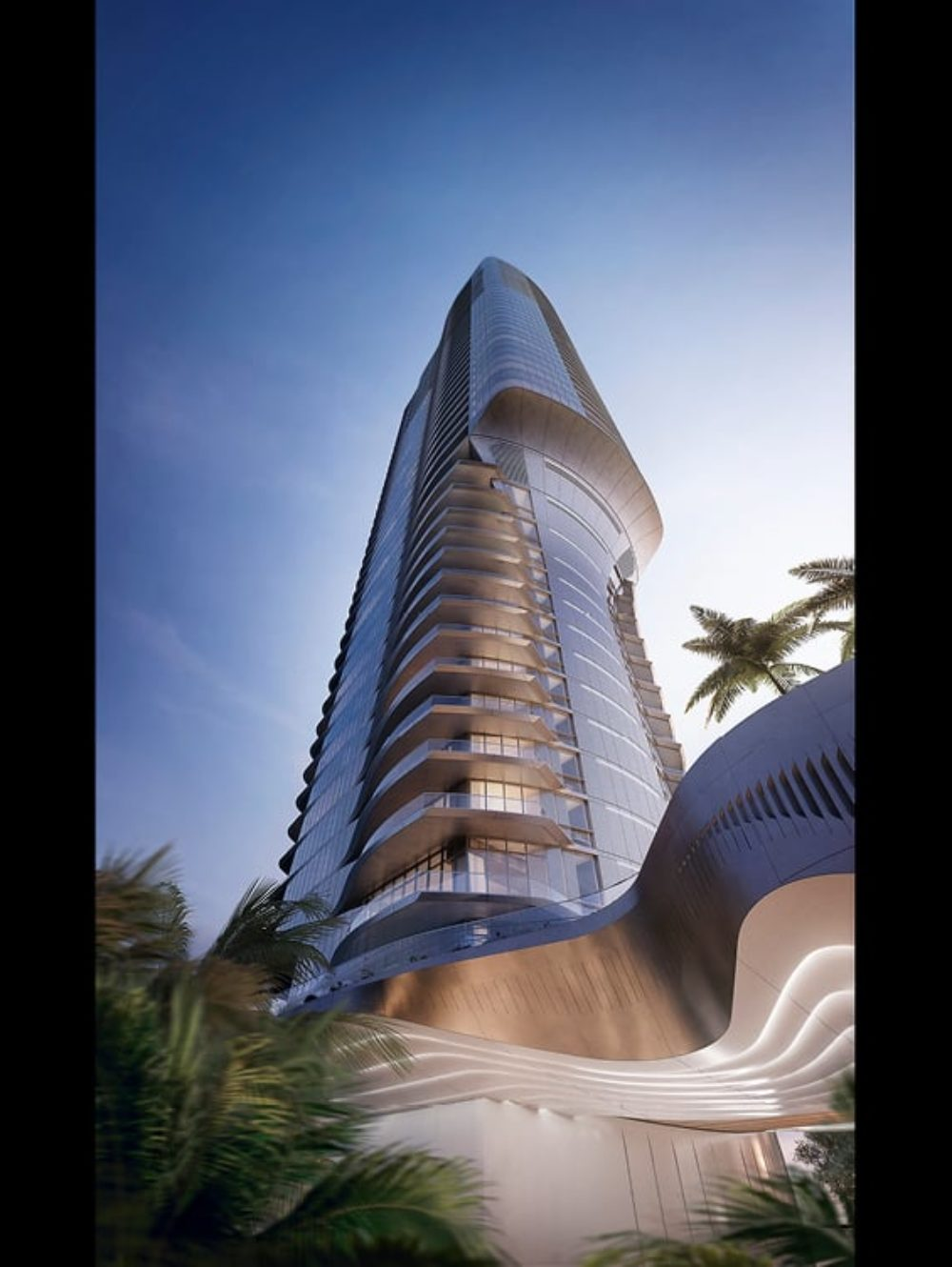 Rending of Una Residences high rise condo in Miami. Ground view looking up to the top of the condominium and blue sky.