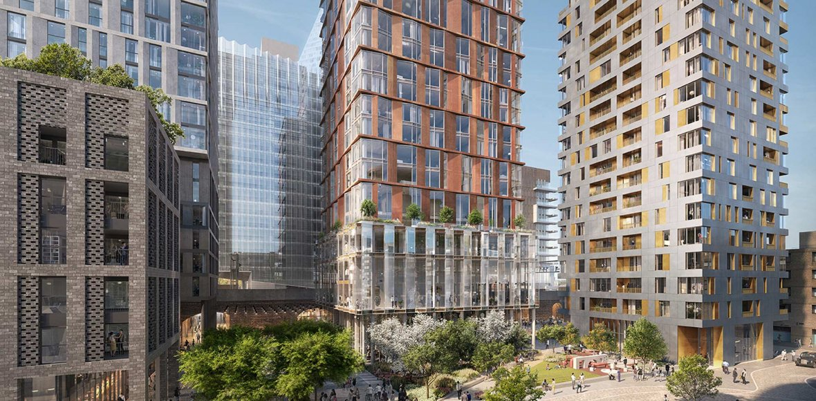 Elevated view of Bankside District in London. Outdoor park between several tall high rise buildings in the daytime.