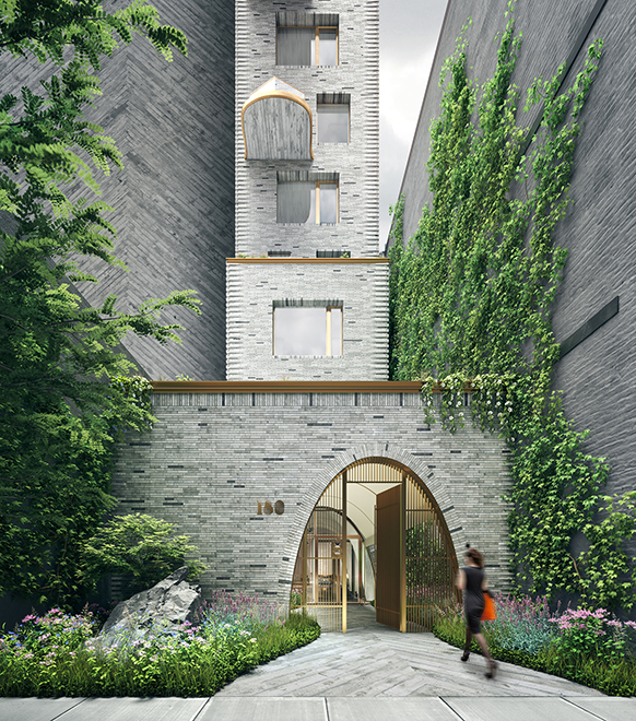 Canopy entrance to 180 E 88th street condominiums in New York City. Has grey brick walls with green vines up the side.