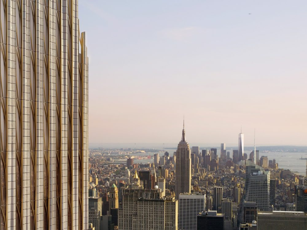Aerial view of New York City during the afternoon from the south side of 111 West 57th street condominiums.