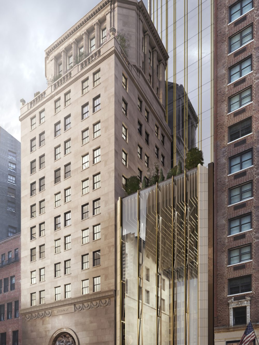South entry view of 111 West 57th street condominiums includes surrounding buildings and the street in New York City.