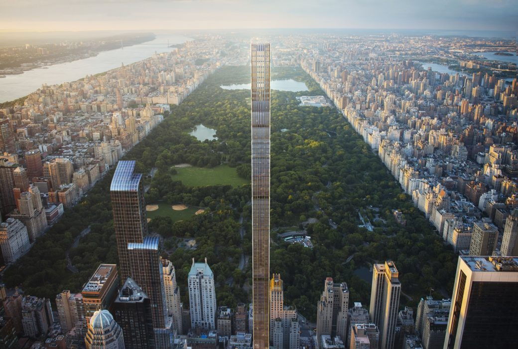 Aerial image of 111 West 57th street condominiums includes a view of Central Park and other buildings in New York City.