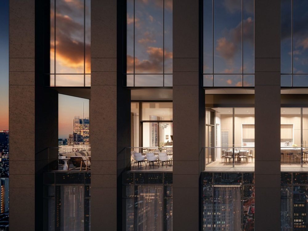 Exterior mid view of 277 Fifth Avenue condominiums. Includes view inside residence living room from the outside in NYC.