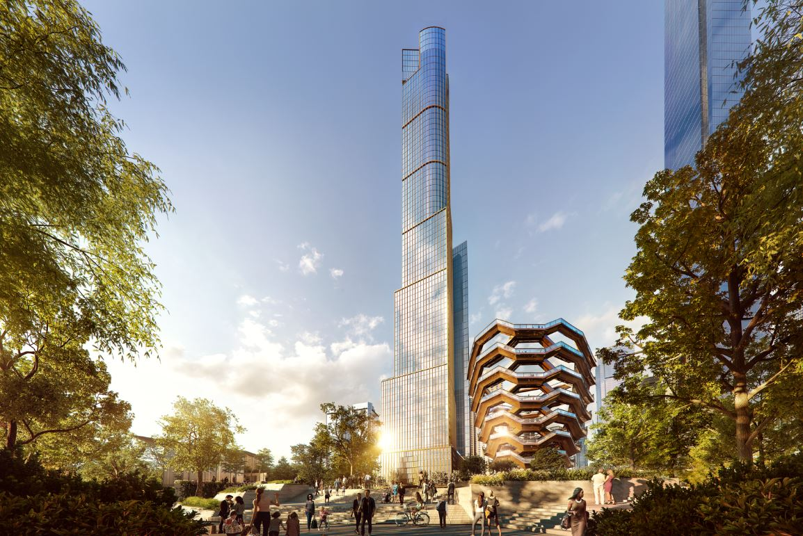 Exterior ground view of 35 Hudson Yards in New York City. Includes view of golden building and trees surrounding the sides.