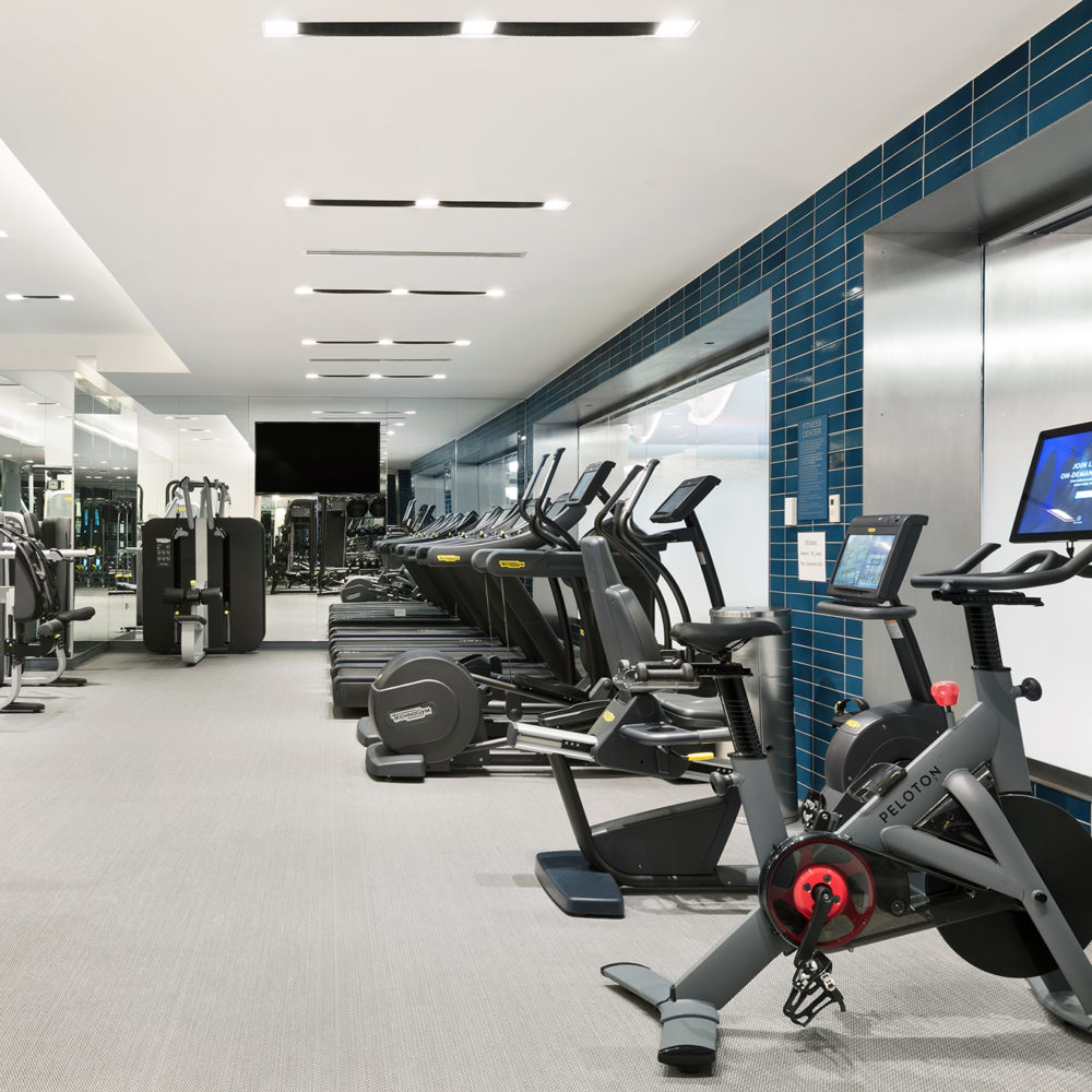 Interior view of 70 Charlton residence fitness center in New York City. Has cardio and weightlifting equipment.
