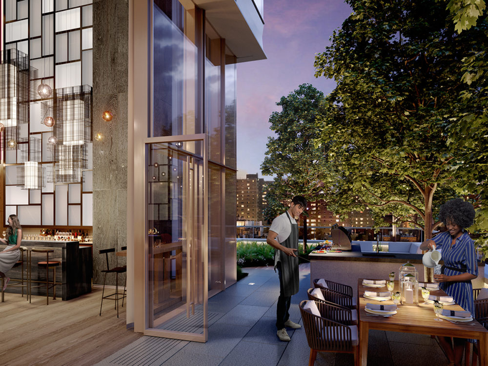 Exterior view of Brooklyn Point residence inside and outside terrace bar. Has elegant furniture and light walls.