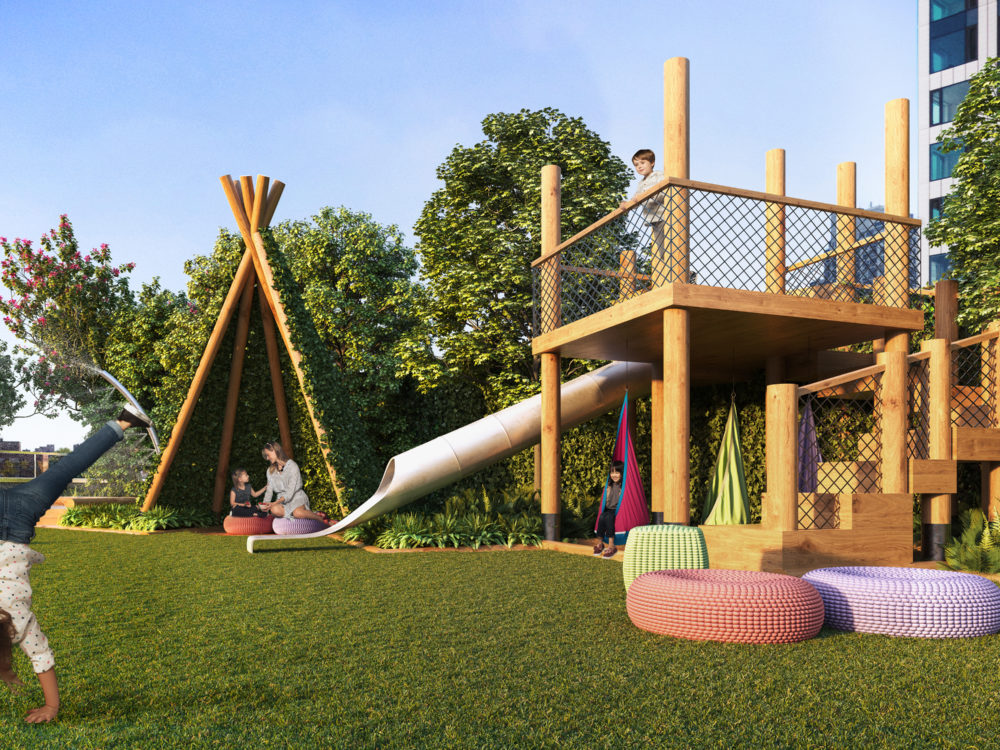 Exterior view of Brooklyn Point residence terrace playroom. Has a tent, jungle gym and lounging chairs.
