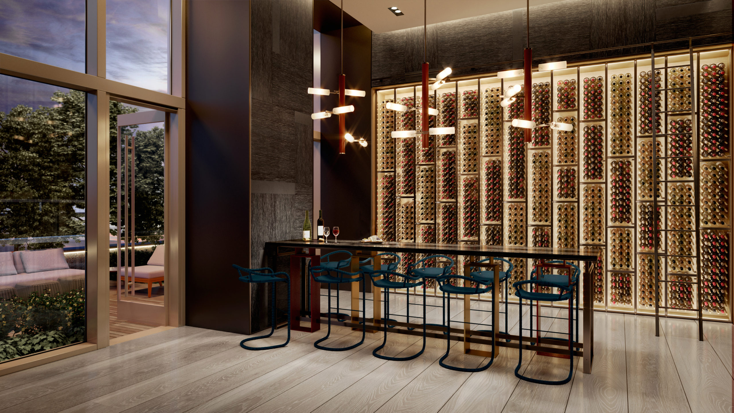 Wine room at Brooklyn Point condominiums in New York. Glass walls with view of the wine collection and the private patio.