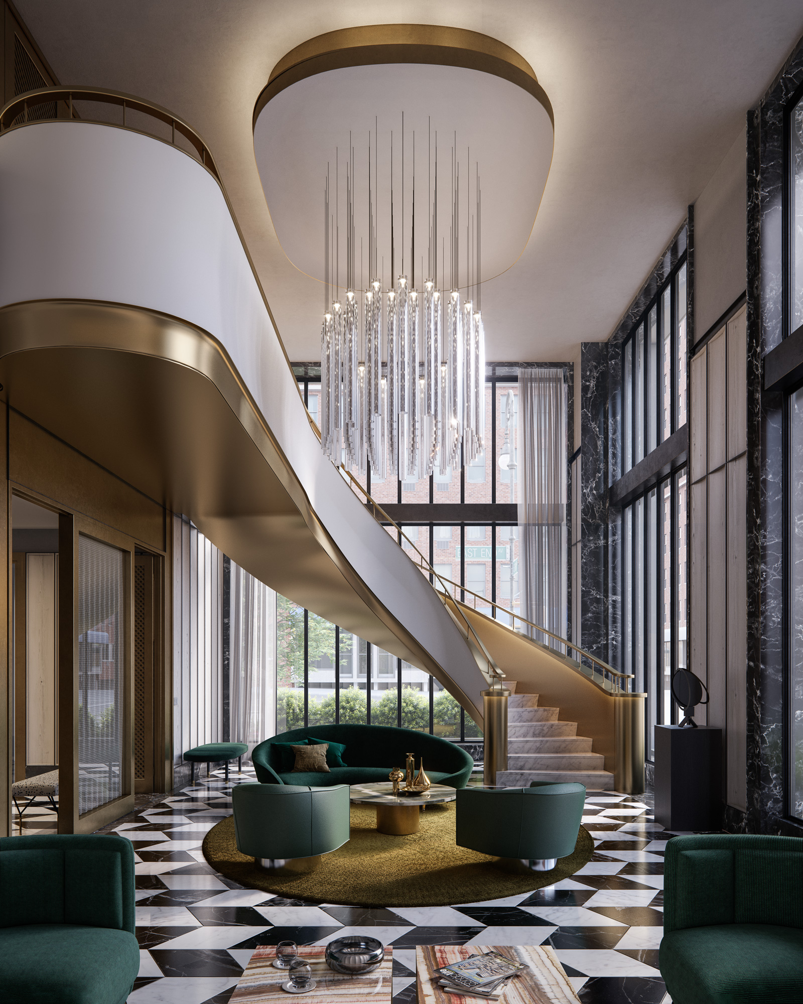 Interior view of 40 East End Ave residence south longue in NYC. Has green chairs, grand staircase and chandelier centerpiece.