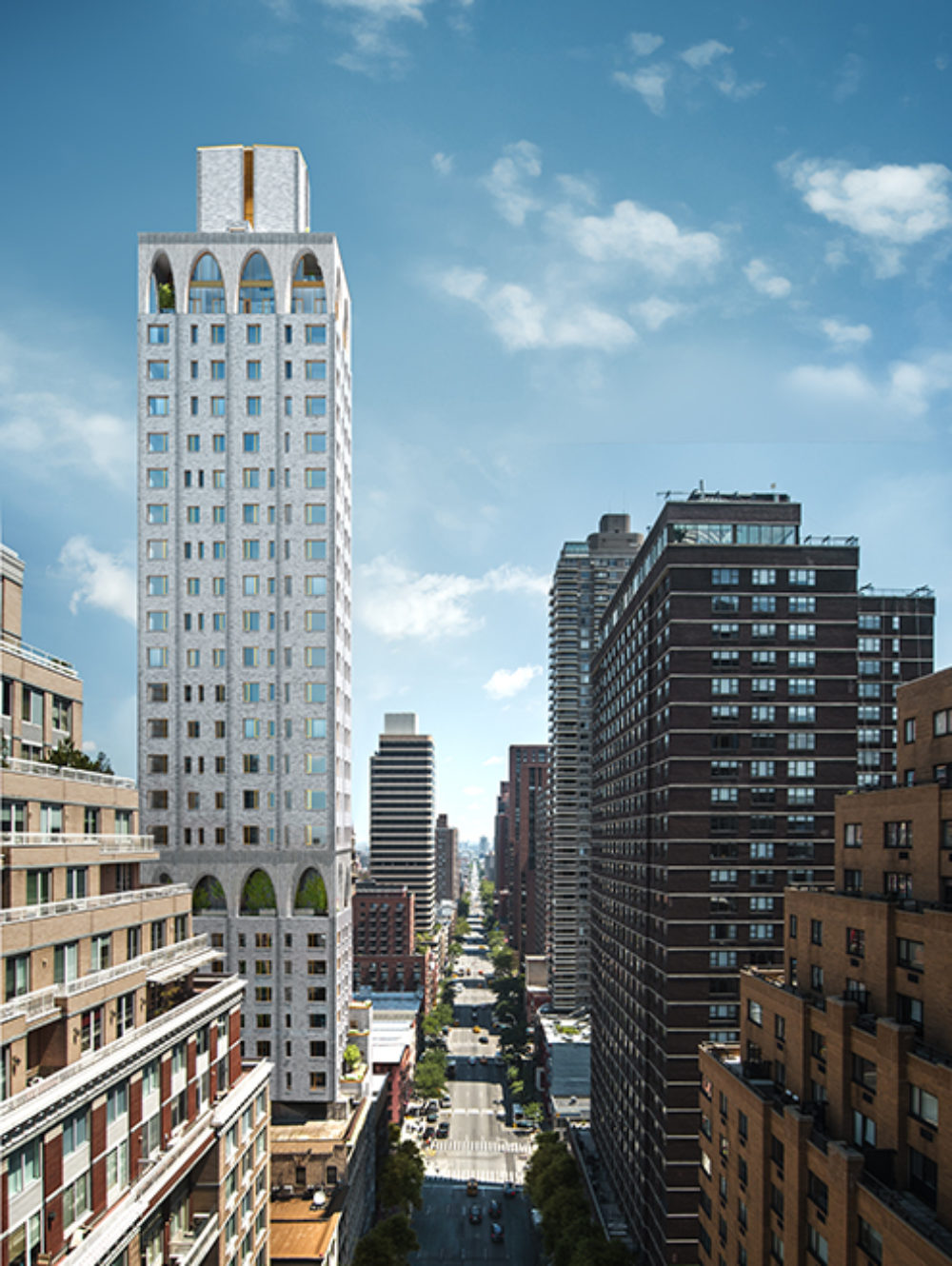 Exterior aerial view of 180 E 88th street condominiums surrounded by other buildings in New York City during the day.