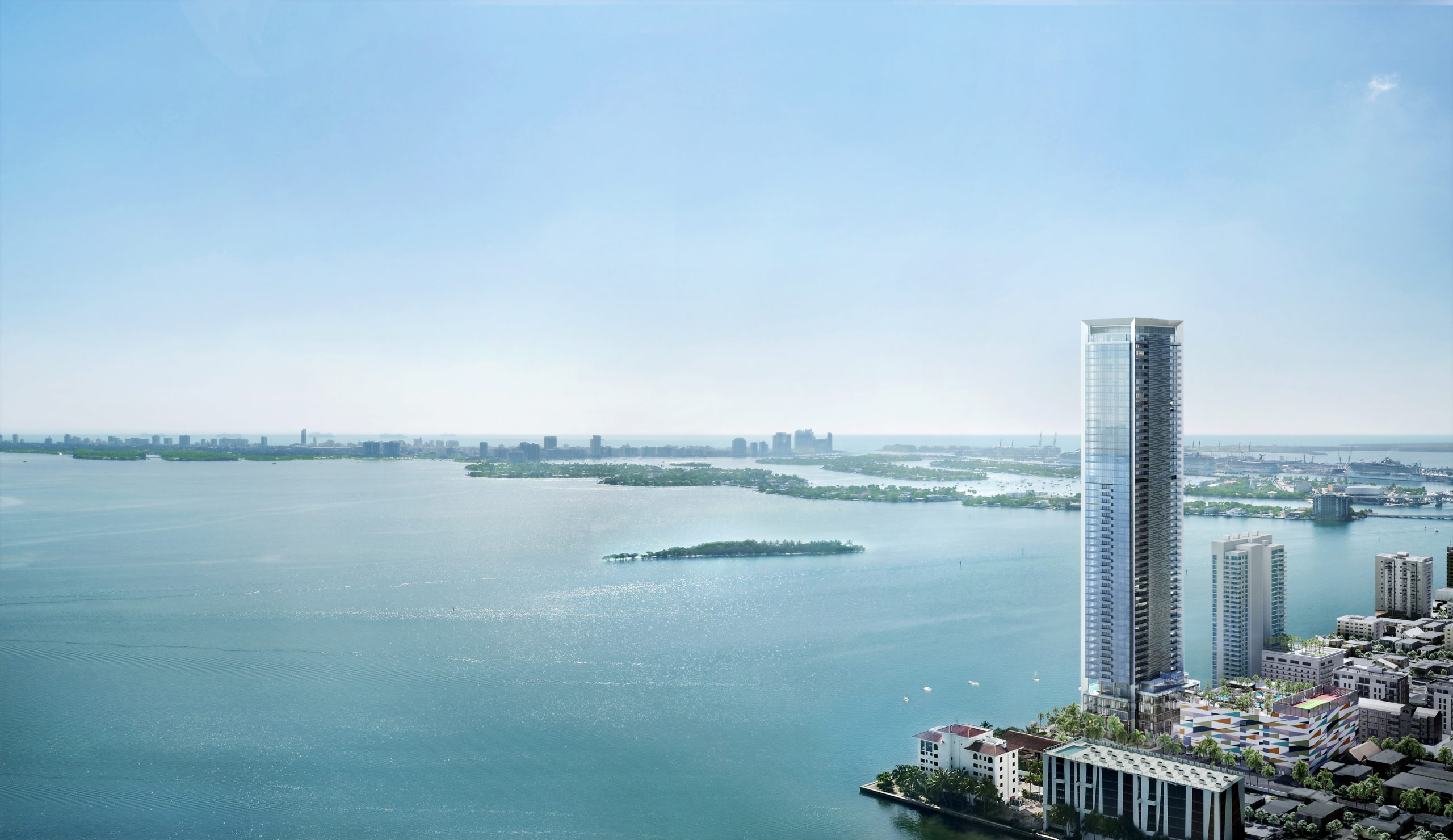 Exterior aerial view of Missoni Baia luxury townhouse with large view of the ocean and Miami.