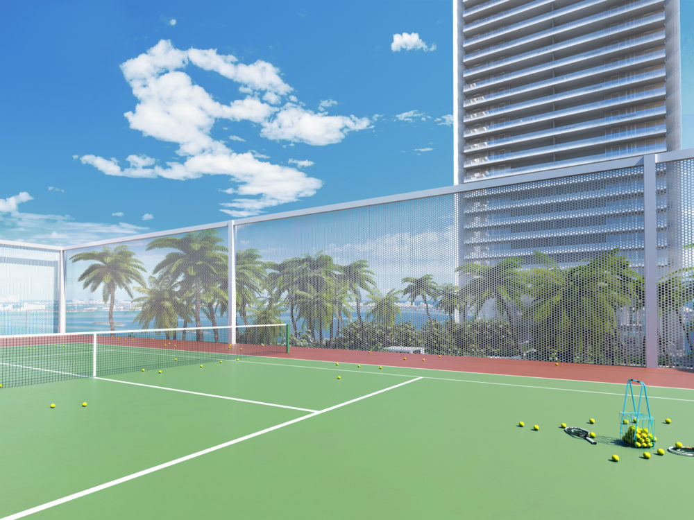 Exterior view of tennis court at Missoni Baia townhouses in Miami. Has oceanfront and Biscayne Bay views.