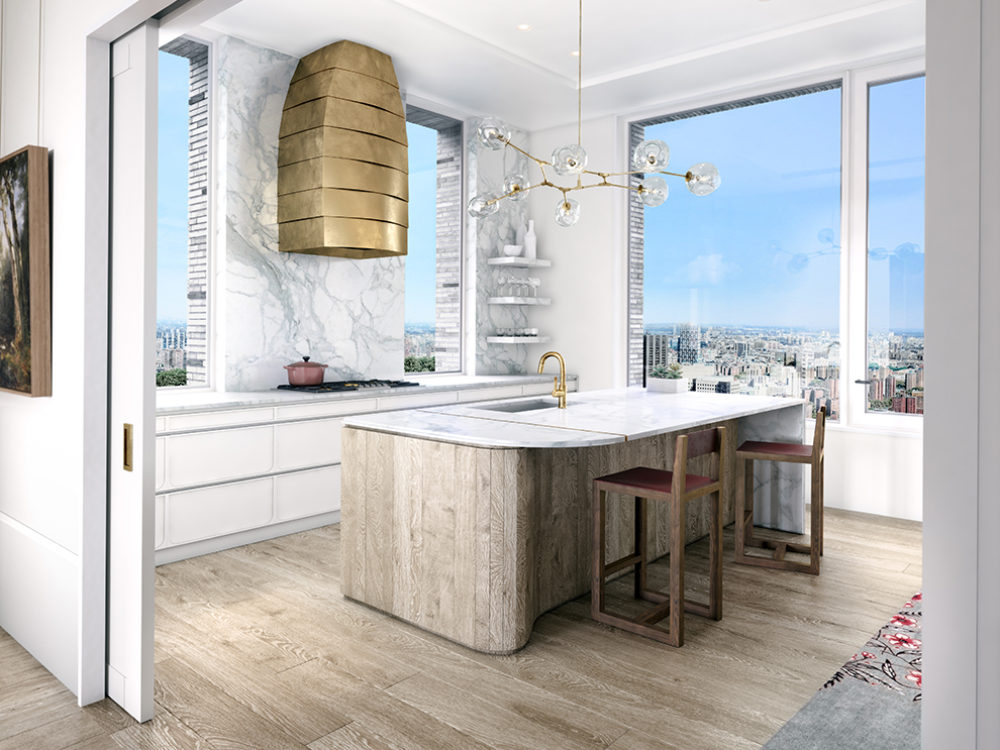 Interior view of kitchen inside 180 E 88th street condominiums in NYC. Includes windows, tabletop, and chairs.