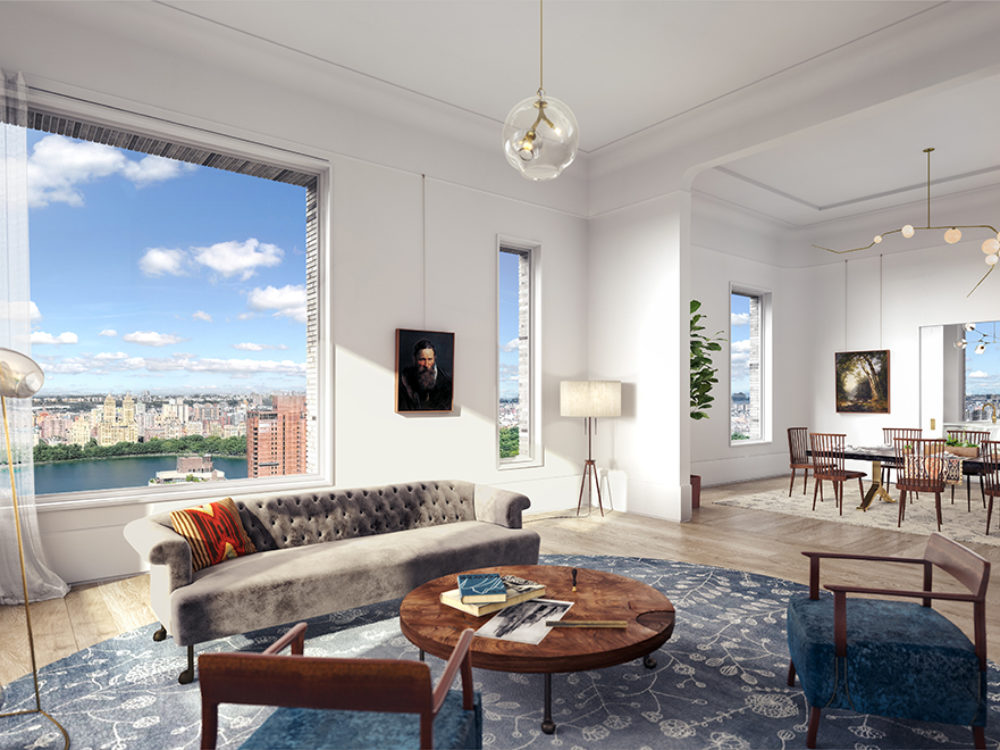 Interior view of living room inside 180 E 88th street condominiums. Includes window view of NYC and furniture for sitting.