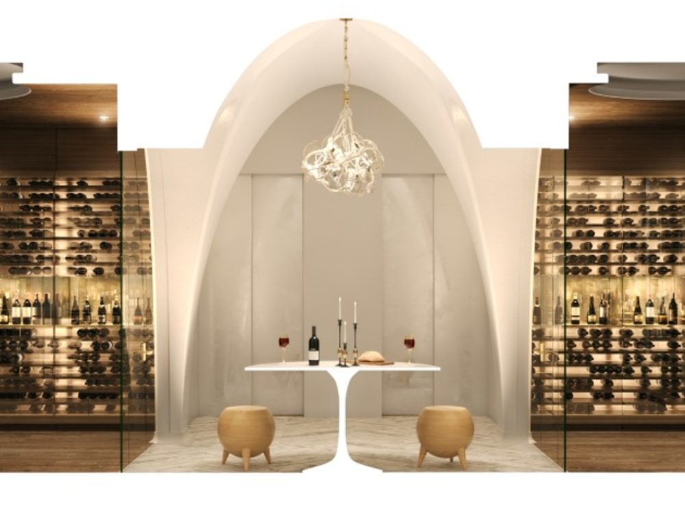 Interior view of wine room inside 180 E 88th street condominiums in New York City. Includes white arched entrance.