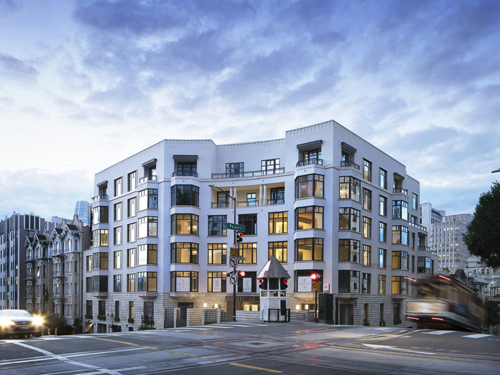 Exterior view of Crescent Nob Hill condominiums in San Francisco designed by Robert M. A. Stern.